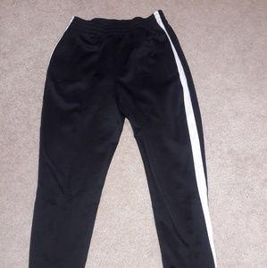 Black sweats with white stripe